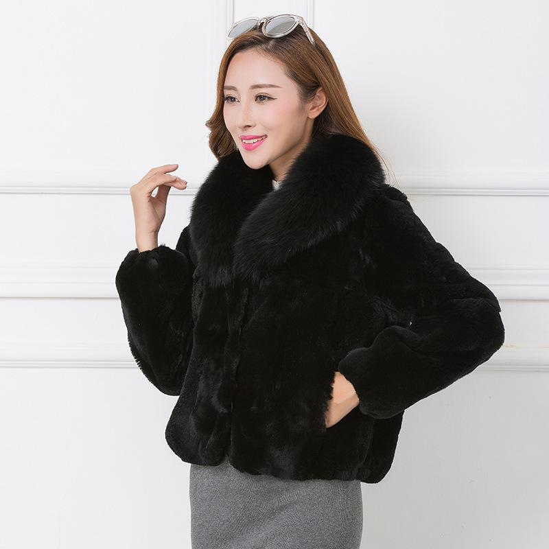 2020 Full Pelt Real Rex Fur Coat Natural Fur Coats With Genuine Collar Winter Jackets For Women WYQ832