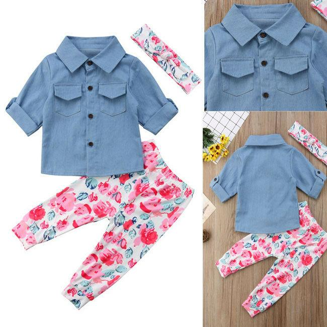 Toddler bambini neonate 12M-5T denim a maniche lunghe pantaloni lunghi Top Outfits set Casual USA