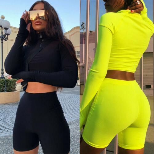 Novos 2019 2pcs Mulheres Ladies Treino de culturas camisola Hoodies Calças Define Lazer Wear Suit Casual Clothes Set