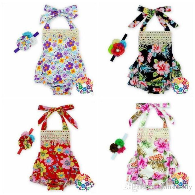 Bebek Kız Giyim kızlar için Kıyafet playsuit C696 yürümeye başlayan Backless Çiçek Ruffles tulum elbise Kolsuz Romper Kafa Jumpsuit ayarlar