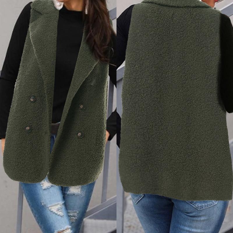 2019 Brasão Celmia Mulheres Winter Colete sem mangas Casual solta Feminino Casacos Vest New Fashion Faux Fur For Ladies Plus Size