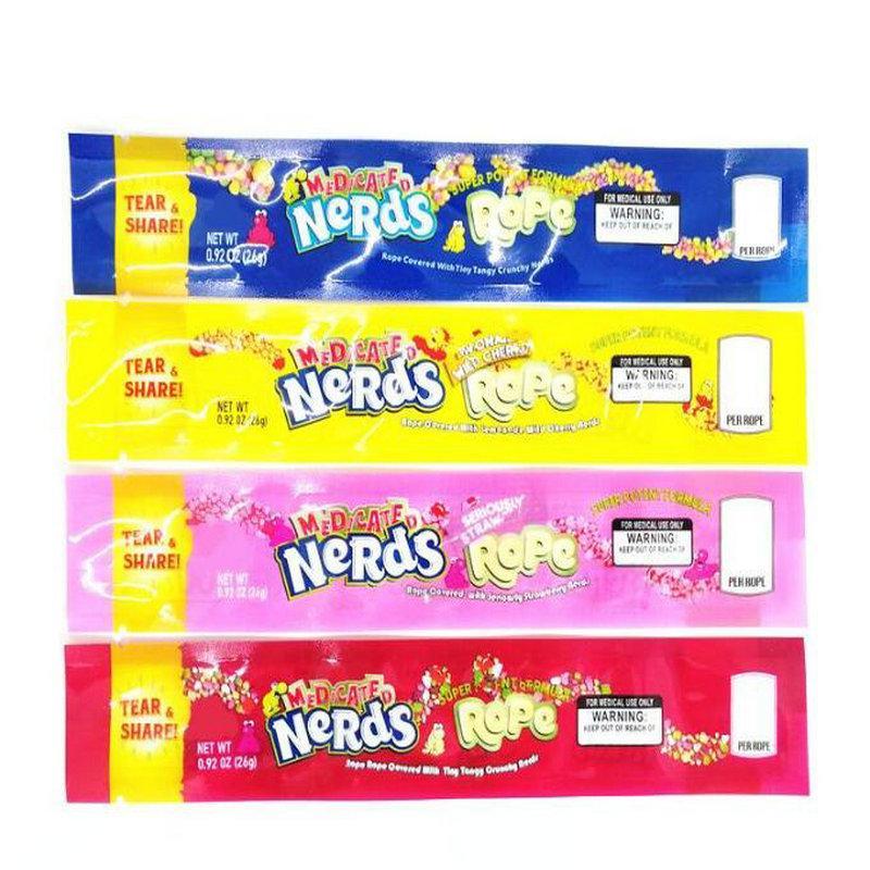 Esvaziar MEDICADO Nerds Corda sacos de embalagem 4 estilos opção Folha de poliéster pacote Food Nerdsrope Goma saco cheiro prova