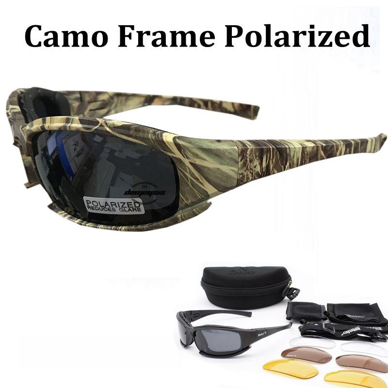 Tactique de Camouflage Hommes Polarisées Lunettes Tir Chasse lunettes 4 Lentille Kit Lunettes De Soleil Hommes Randonnée