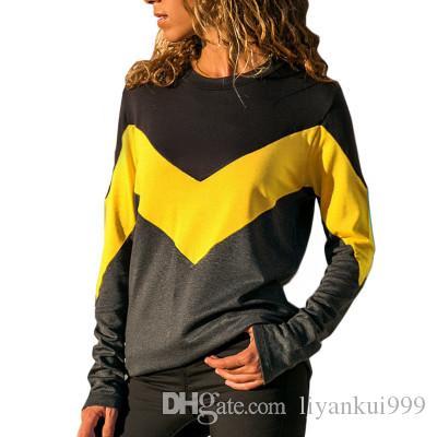 Manga larga para mujer camisas sport de las señoras de costura cuello redondo Color de la blusa del otoño del resorte más el tamaño de las tapas calientes 5 Color S-2XL