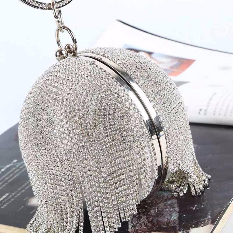 Сумки женские Сумки Круглые шарообразный Вечерние Бриллианты сумка дамы лето плеча день свадьбы Клатчи Кошелек