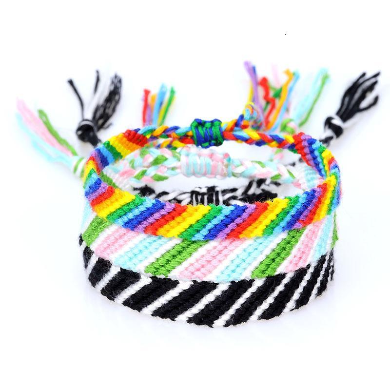 Manual do Nepal Amizade pulseira Hypotenuse coloridos de algodão corda pulseira Weave