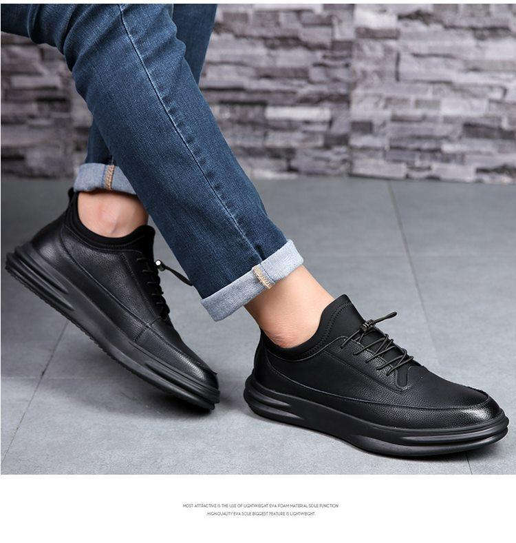High-quality Ital Design Men all Black Flats Zapatos Mujer Chaussure Homme Men Casual Sneakers Shoes Man leather shoes LM-25
