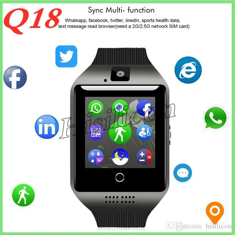 Wholesale Q18 smart watches for android phones Bluetooth Smartwatch with Camera Support Heart Rate Tf sim Card Slot Bluetooth NFC Connection