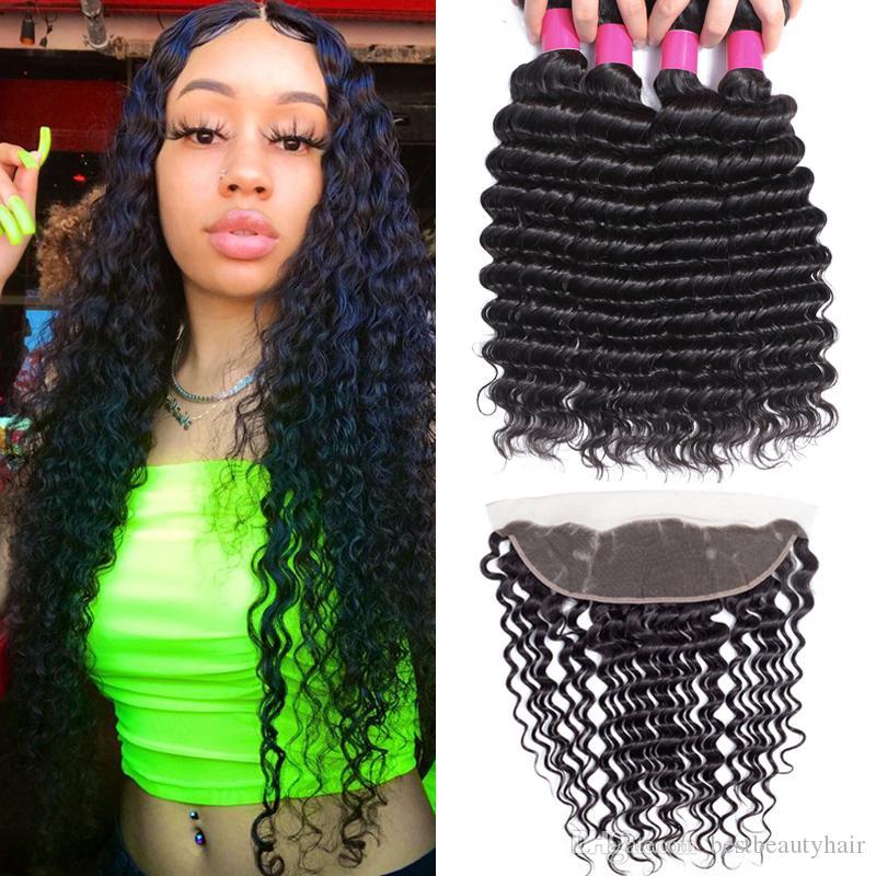 9A Remy Brezilyalı Virgin Saç Paketler ile Closures 13X4 Kulak Kulak Dantel Frontal Kapatma Vücut Wave Düz Gevşek Dalga Kıvırcık Derin İnsan Saç için
