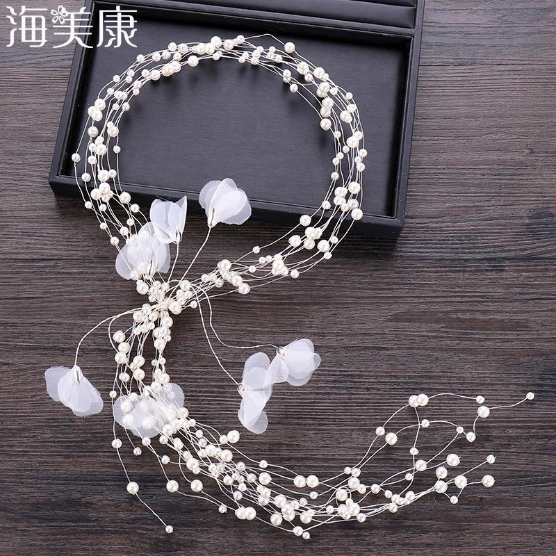Haimeikang Gelin Beyaz Çiçek Saç Aksesuarları El Yapımı İnci Saç Bandı Garland Krep Başkanı Çiçek Güzel Düğün Headdress