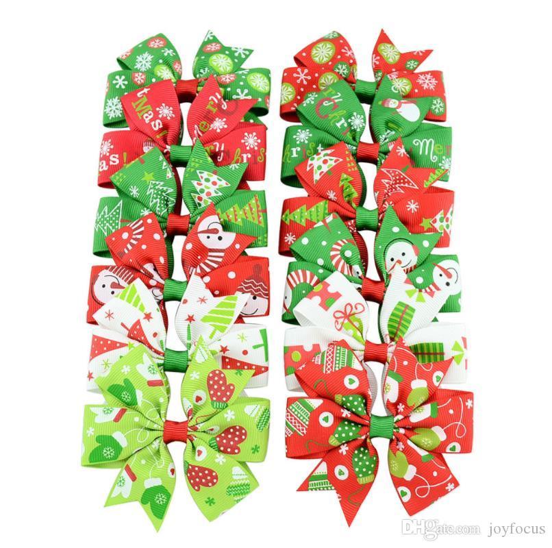 3 polegada de cabelo arco padrão de design de Natal com clipes padrão misturado meninas Hairpins festa de crianças tosquiadeira de cabelo