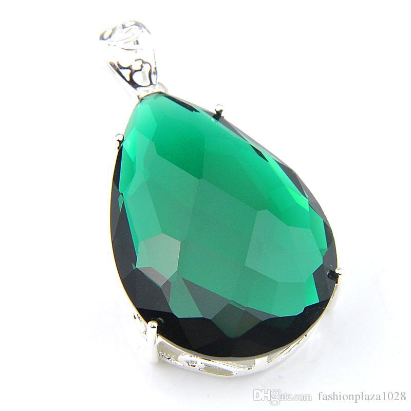 """I nuovi 10 pc sacco LuckyShine Top Fuoco Goccia Verde Quartz argento 925 placcato collana di modo delle donne di nozze pendenti di 1.58"""" pollici"""