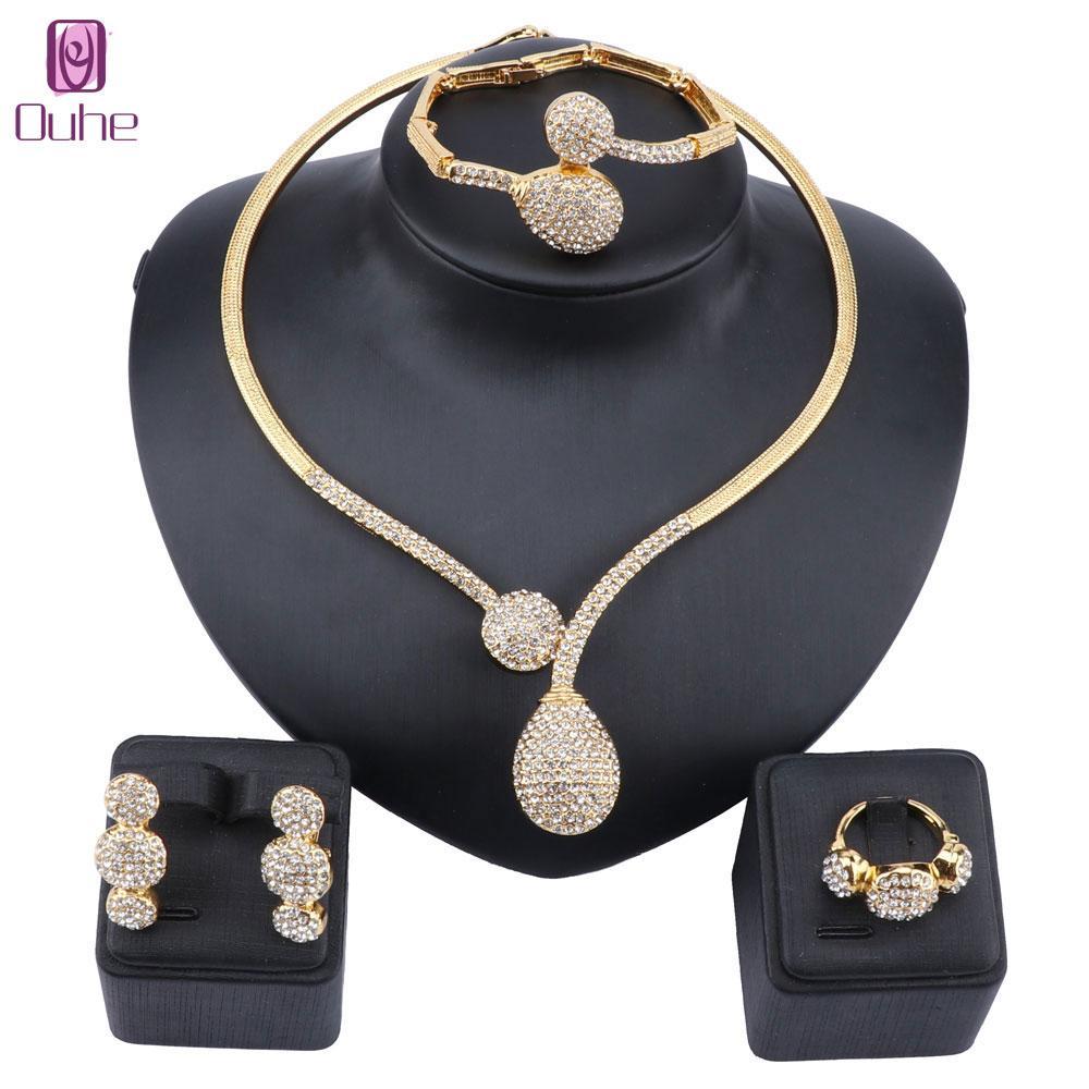 Дубай Кристалл Ювелирные наборы Классический Капля воды Форма ожерелье браслет серьги кольцо для женщин венчания невесты комплект ювелирных изделий