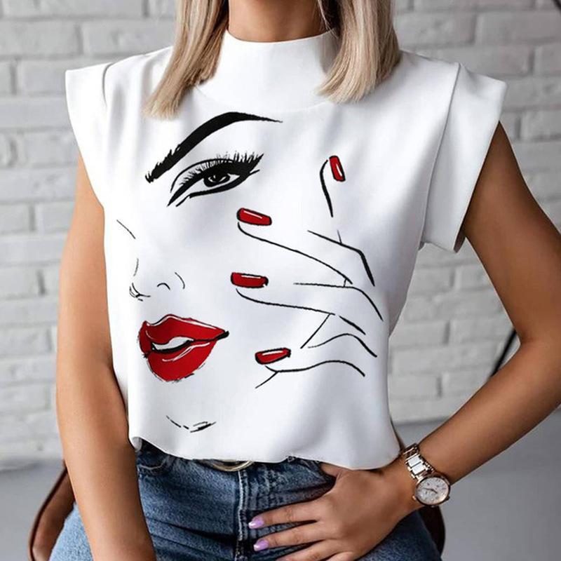 Dudaklar Baskı Bluz Gömlek 2020 Yaz Rahat Standı Boyun Kazaklar Bayanlar Moda Sevimli Göz Kısa Kollu Blusa Kadınlar Zarif Tops