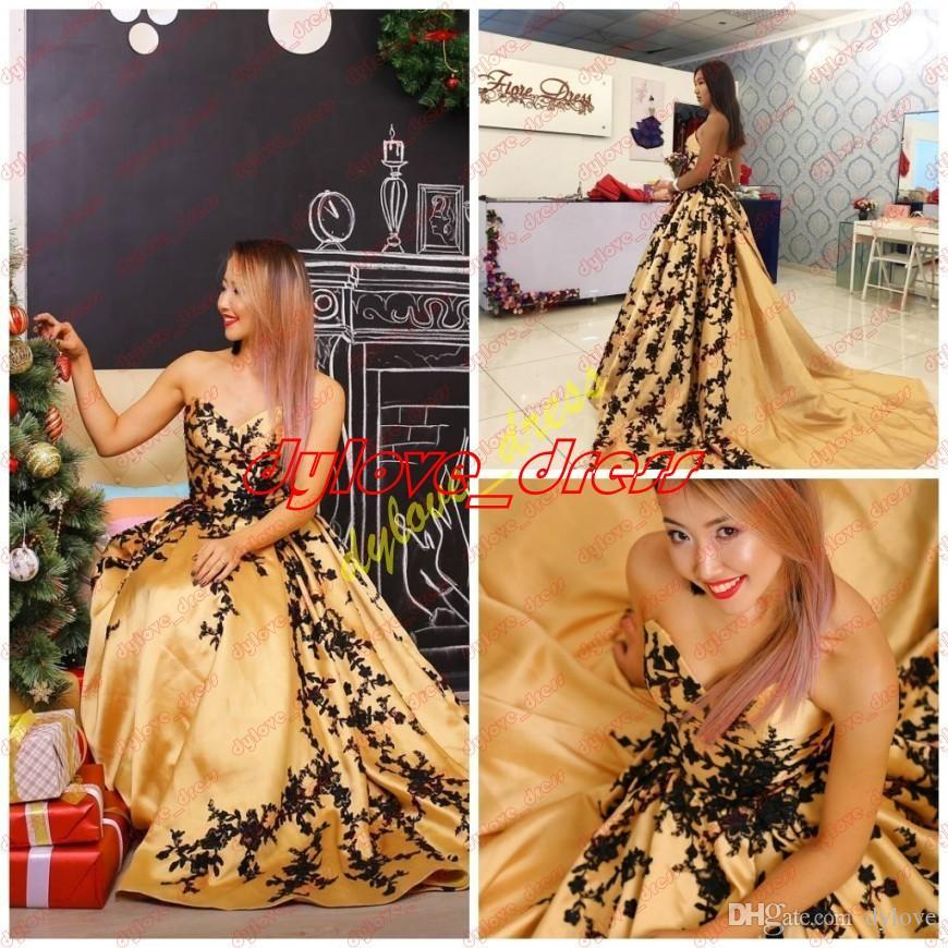 2021 Sexy Gold Plus Size vestidos de noite vestidos de fiesta preto laço negro menina árabe quinceanera vestido vestido de baile longo