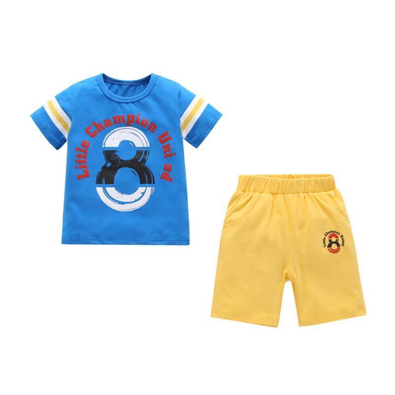 KANCOOLD Boy Alphabet Gradient Digital Print Colorblock Streifen Sleeve Kurzarm T-Shirt + Solid Color Crop Set