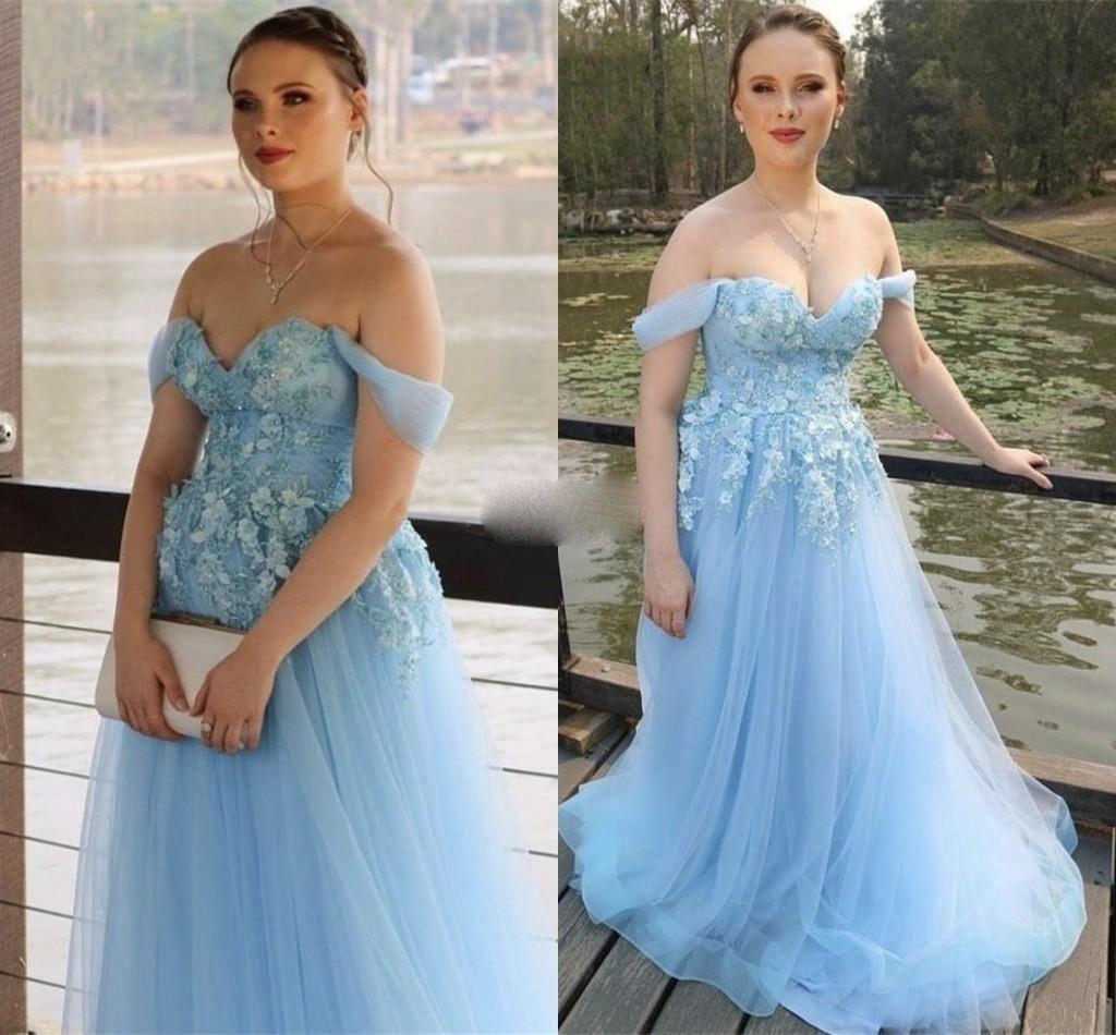 2020 Blue Sky robes de bal de l'épaule une ligne avec 3D Appliqued partie longue Robes de soirée