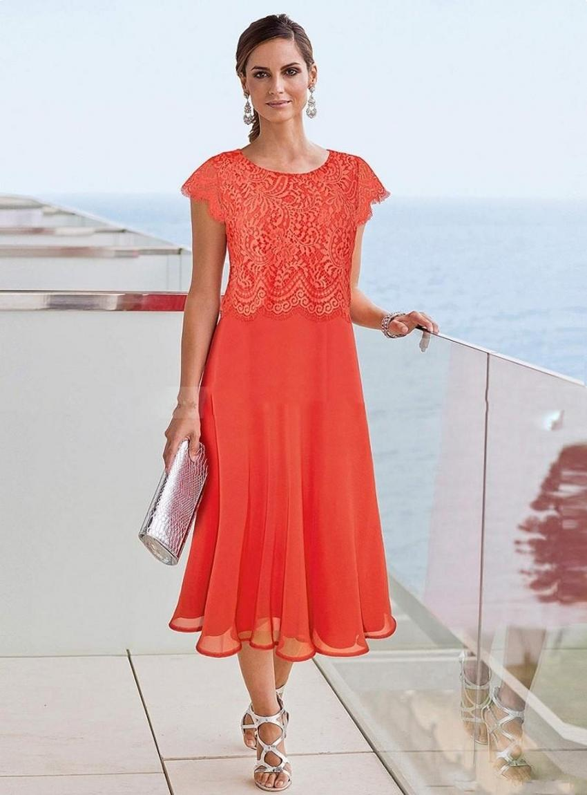 Tea Length Mother Of The Bride Dresses Beach Wedding Lace Appliqued Mothers Formal Wear Modern Evening Gowns PD6261