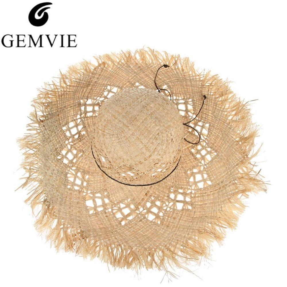 Gemvie New Fashion Wide Brim Large Fields Straw Hats For Women Hollow Out Ladies Beach Sun Hats Fluff Floppy Summer Caps Boater Y19070503