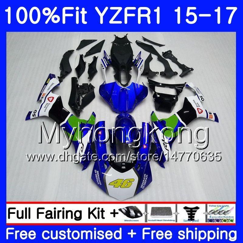 Movistar 블루 핫 주입 바디 YAMAHA YZF R1 1000 YZF-R1 15 16 17 243HM.3 YZF-1000 YZF R 1 YZF1000 YZFR1 2015 2016 2017 페어링 키트