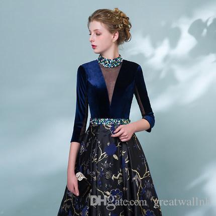 100% echte Perlen Königsblau Samt Jacquard Blume Vogel Gericht mittelalterlichen Kleid Renaissance Gown Queen Victorian / Marie / Belle Ball / Bühne / Kleid