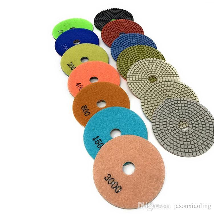 Disco de polimento de resina 4 Polegada 5 Polegada Molhado Almofadas de Polimento Flexível para Ferramentas de Polimento Abrasivo em Pedra 10 PCS