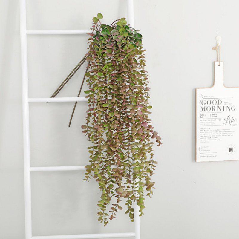 Ins style Eucalyptus Feuille Plant Simulation ronde nordique feuille en plastique fleur argent mur intérieur suspendu décoration pour la maison