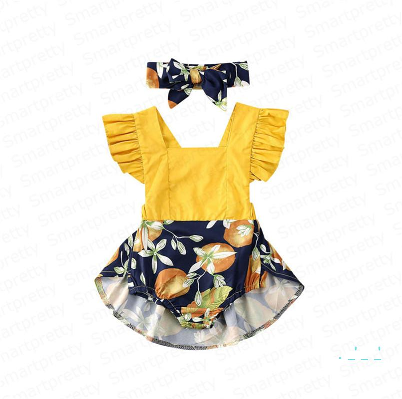 Kids Girls Romper Dress with Headband Summer Baby Coveralls Ruffled Sleeves Suspenders Jumpsuits Bodysuits Headbands Two Pieces Set E33002