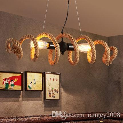 American Country Industrial Loft Schmiedeeisen Rohr Hanfseil Anhänger oder Deckenleuchte Retro Bar Cafe E27 Edison Lampe Licht