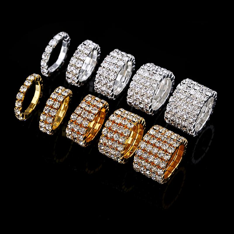 1-5 Rows Crystal Rhinestone Rings Silver Plated and Gold Plated Bridal Wedding Elastic Stretch Finger Rings for Woman