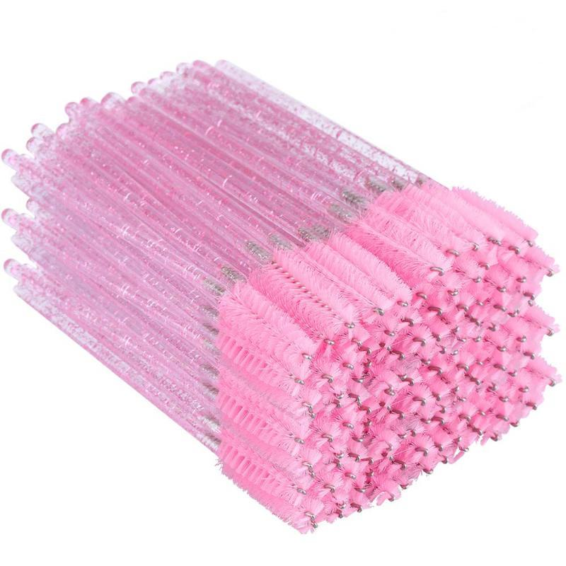 300 unids Shiny Pink Micro Micro Eyelash Pinceles Crystal Mascara Wands Aplicador Eyebrow Comb Cepillos de pestañas Kit de herramientas de maquillaje