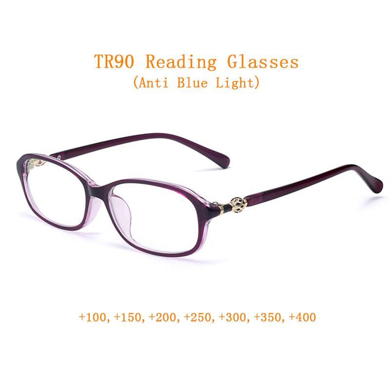 Mode Urltralight TR90 Femmes Lunettes de lecture Lunettes presbytes loupe Femme for Sight + 1.0 ~ 4.0 + Anti Blue Light 3Color