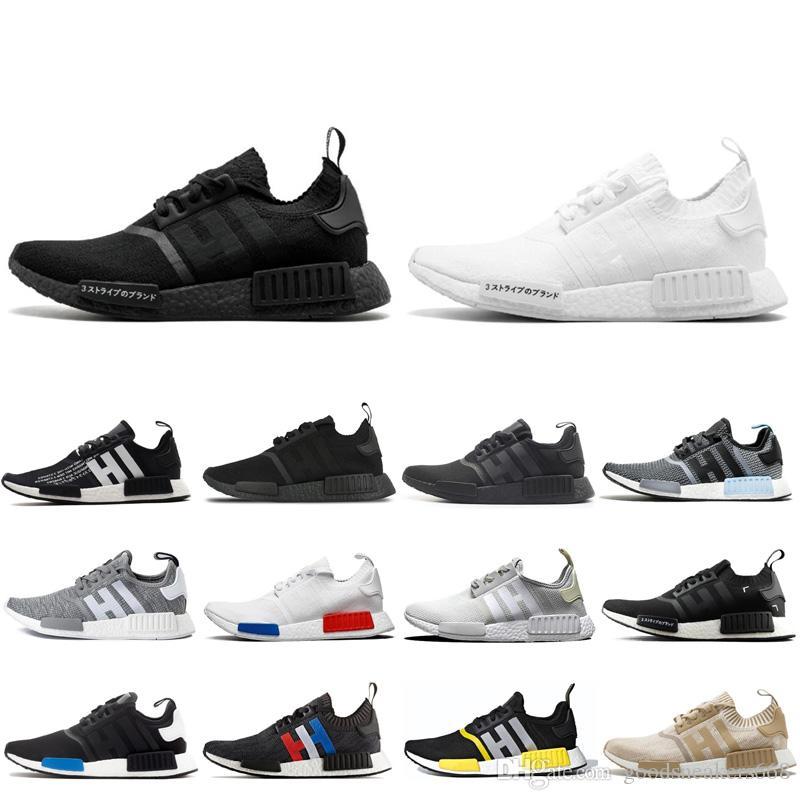 Adidas NMD R1 Üçlü siyah Beyaz tasarımcı Erkekler Kadınlar Için koşu ayakkabıları og 2017 yayın atmos_black Koşucu Spor sneakers 36-45
