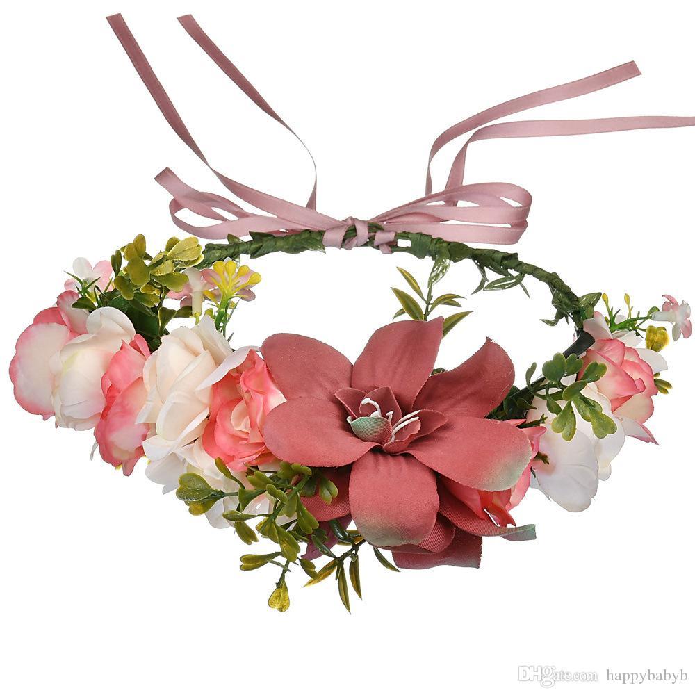 4 renk Düğün Çiçek Taç Çelenkler Manuel Cane Aestheticism Saç Hoop Kadınlar Yapay Çiçekler askıbezekler Saç bandı