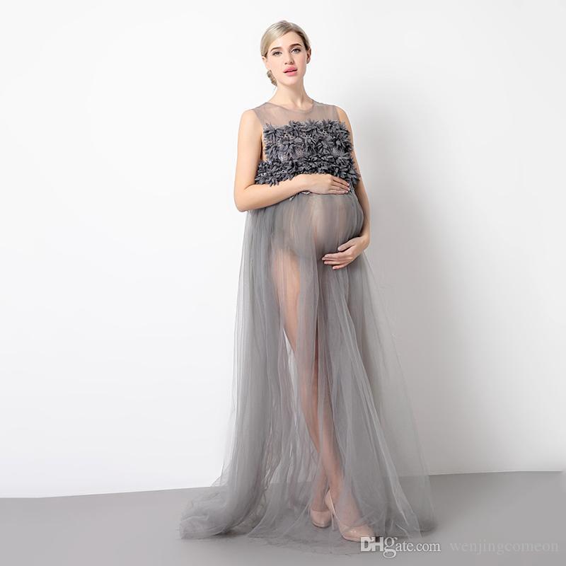 Compre Vestido De Fiesta De Maternidad Sleevelss Malla De Maternidad Verano Embarazada Disparo Foto Ilusión Vestidos De Maternidad Vestido De