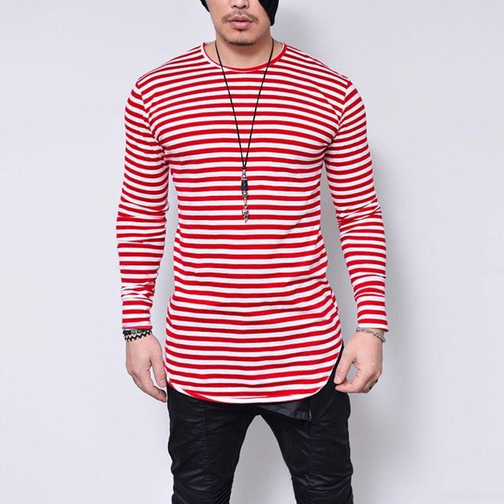 De gran tamaño 5xl camiseta hombre negro o cuello manga larga camiseta de los hombres impresión de rayas streetwear camisa casual para hombre ropa camiseta