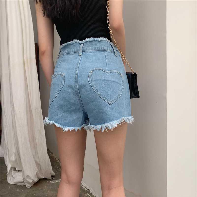 Nuevo amor del verano de la vendimia del corazón de bolsillo Mujeres Pantalones cortos Harajuku Kawaii dril de algodón de cintura alta Pantalones cortos Mujer Casual Jeans borlas