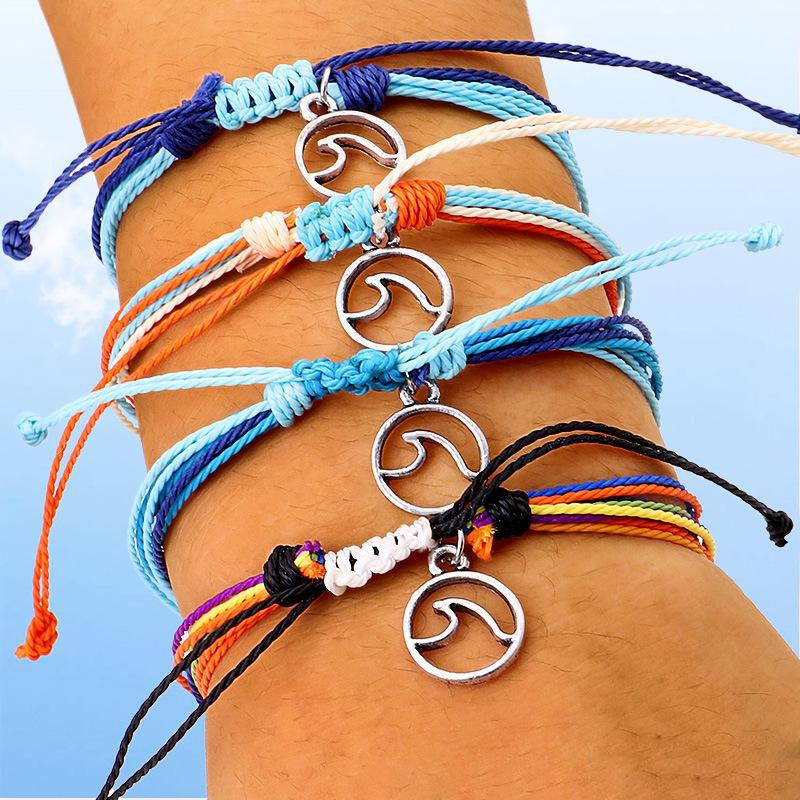 Bohemia Multilayer Wax Thread Woven Bracelet Colorful Round Waves Charm Pendant Hand Chain Friendship Bracelet Bangle For Women Jewelry Gift
