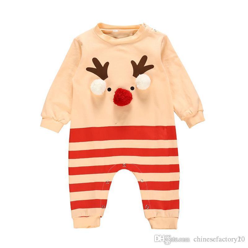 واز طفل رضيع القطن عيد الميلاد طويلة الأكمام رومبير الأيائل مع الكرة الملابس عيد الميلاد طفل شريط الملابس