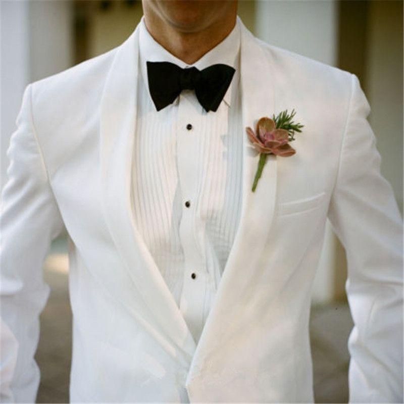 Weiß Bräutigam Beste Männer Anzüge Smoking mit Schalkragen Männer Anzüge der Qualitäts-Terno Masculino Hochzeit für 2Piece (Jacke + Hose)