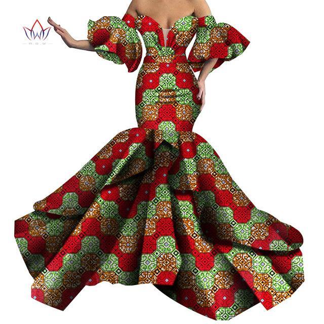 Базен Riche African печати Sexy Вечерние платья Длинные Dashiki африканские платья для женщин африканских одежды без бретелек платья WY5613