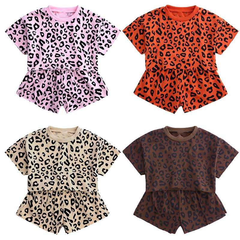 مجموعات ملابس الاطفال ليوبارد مجموعة قمم الكورية السراويل 2 قطعة للفتيات طفل رضيع فتاة ملابس الصيف تناسب الأطفال