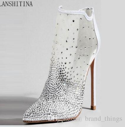 2018 mujeres señalan botines del dedo del pie del brillo del diamante de malla de aire botines mujeres botas botas zapatos de fiesta rhinestone talón fino