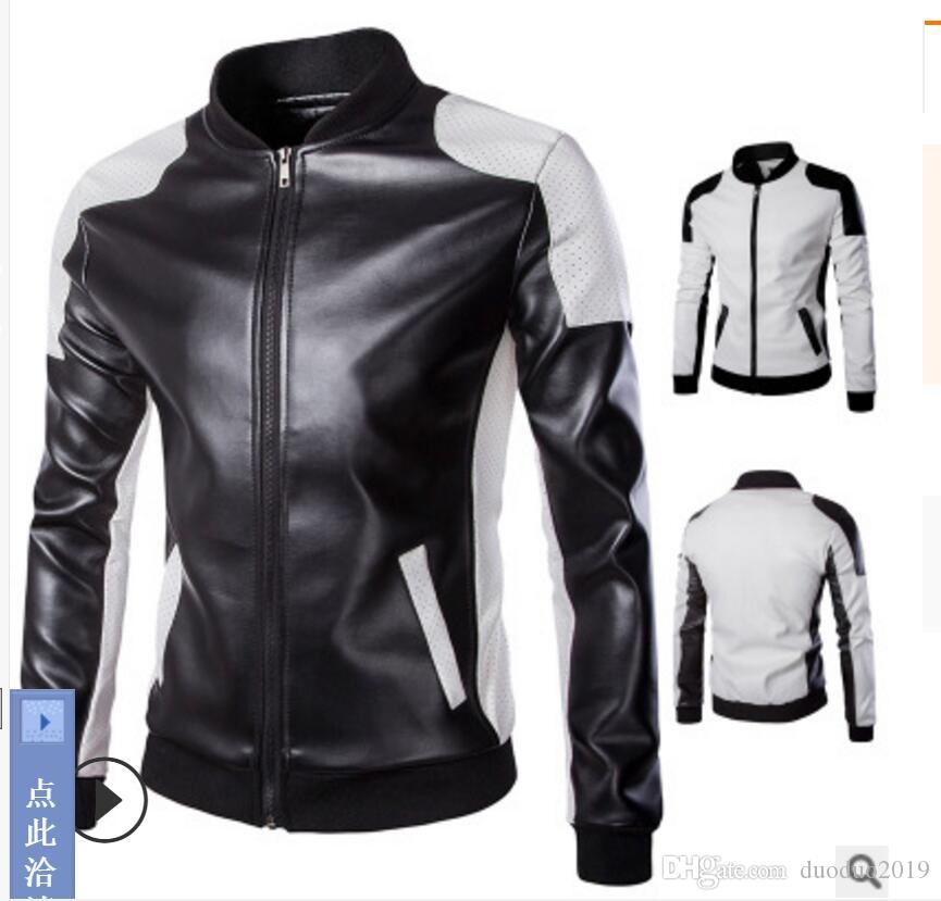 Mens Long Sleeve Synthetic  Leather Motorcycle Coat Jacket Outwear S-5XL New