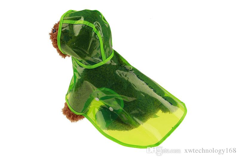1PCS Transparent Pet Raincoat Eco-friendly Dog Rain Jacket Dog Rain Clothes Pet Rain Poncho Brown Green Color