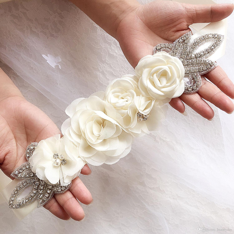 Sashes de casamento chiffon flores nupcial cinto strass vestido acessórios nupciais cinto branco marfim preto prata vermelho em estoque
