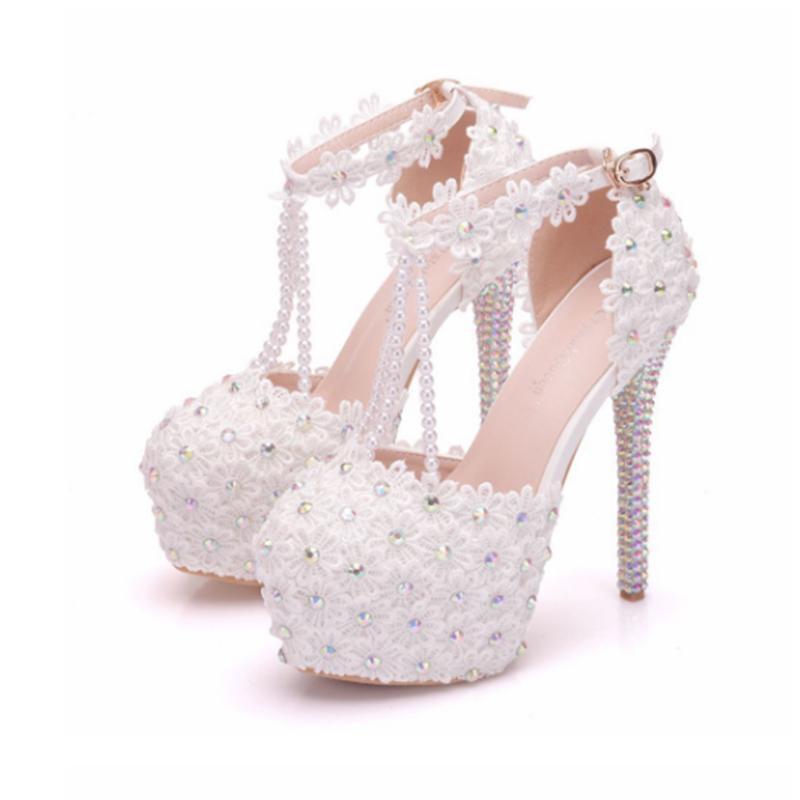 Seksi kadın dantel düğün ayakkabı beyaz dantel düğün ayakkabı boncuklu su geçirmez platformu yüksek topuk sandalet yüksek topuklu 14 cm