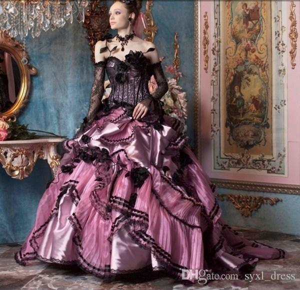2019 Vintage Gothic Victorian Halloween Black and Pink Lace Plus Size Ball Gown Wedding Dresses Bridal Gowns Strapless Long Sleeves