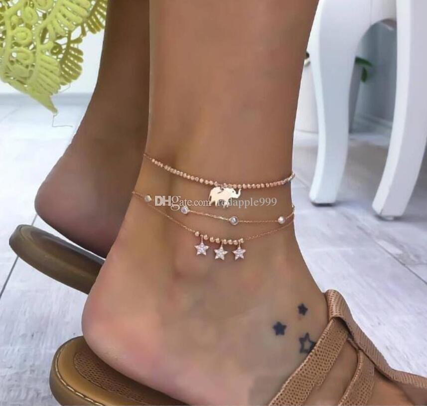 WOMEN MULTI-LAYER BEADS STAR CHAIN ANKLE BRACELET SANDAL ANKLET JEWELRY STUNNING