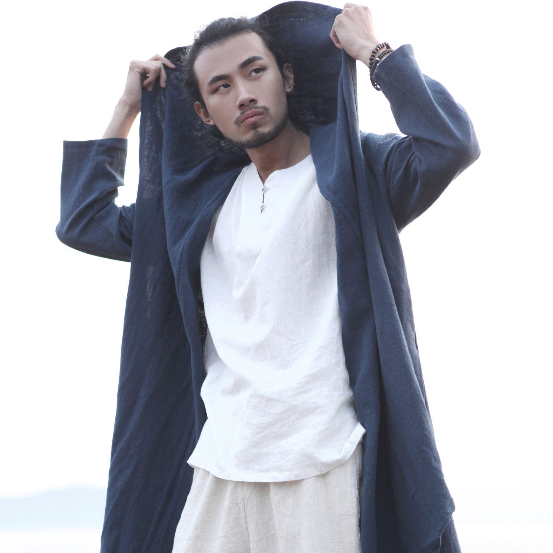 20 New mafan men's and big cloak Ramie long coat Cloak cotton linen Coat cotton and linen leisure travel overcoat